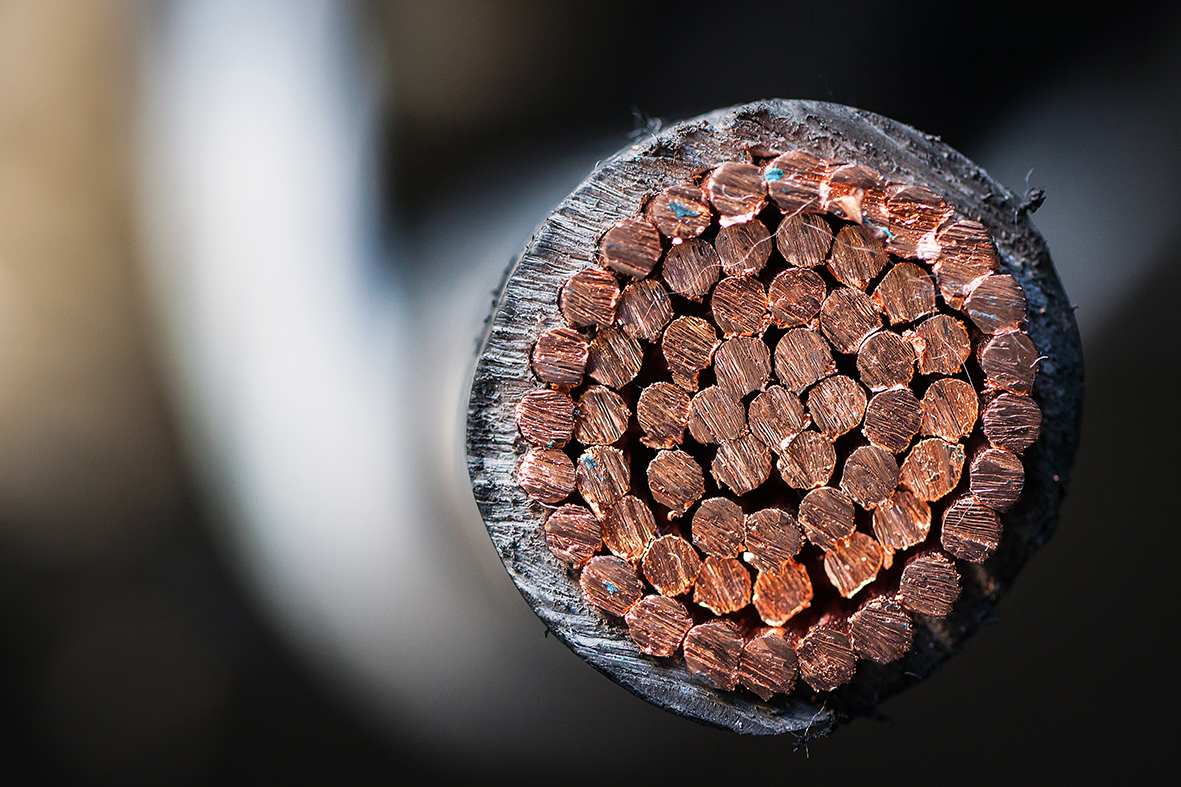 Copper, cables, insulators, conductors.